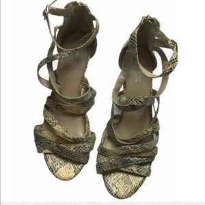 Kenneth Cole Reaction Snakeskin Strappy Heels